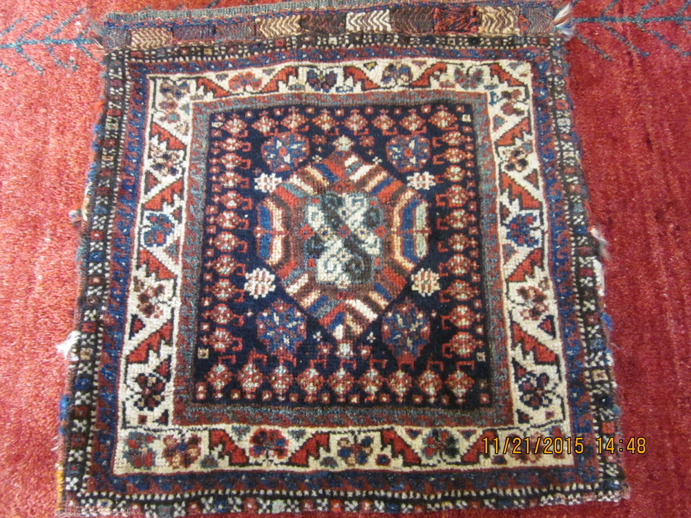 """#38) Antique Persian tribal saddle bag. Great for a wall hanging. 1'7"""" x 1'8"""""""