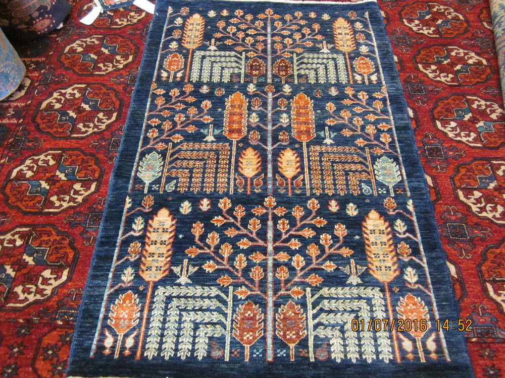 """#28) Magnificent 3'2"""" x 5"""" Tree of Life tribal rug in navy. Sold."""