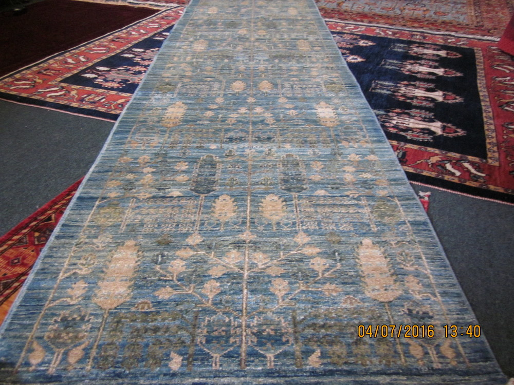 "#32) 2'9"" x 9'9"" light blue Tree of Life runner, Afghanistan."
