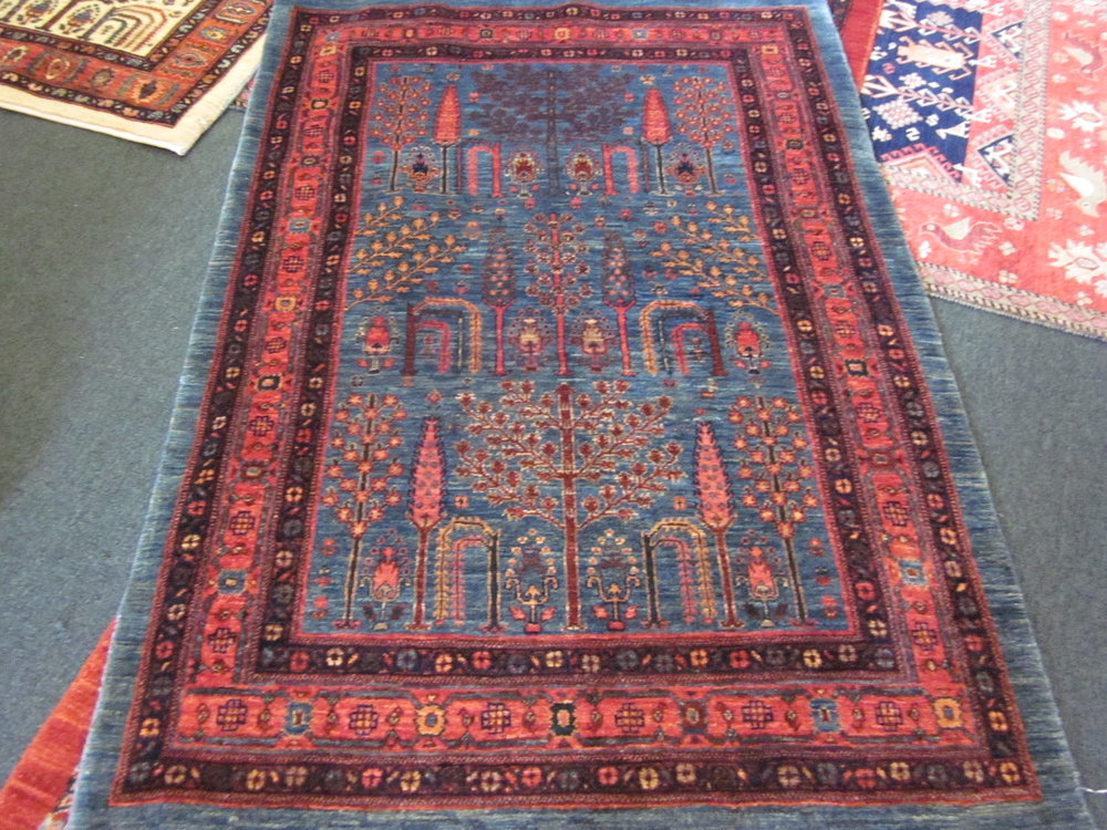 "#41) 3'4"" x 4'10"" Beautiful tribal rug: Tree of Life design."