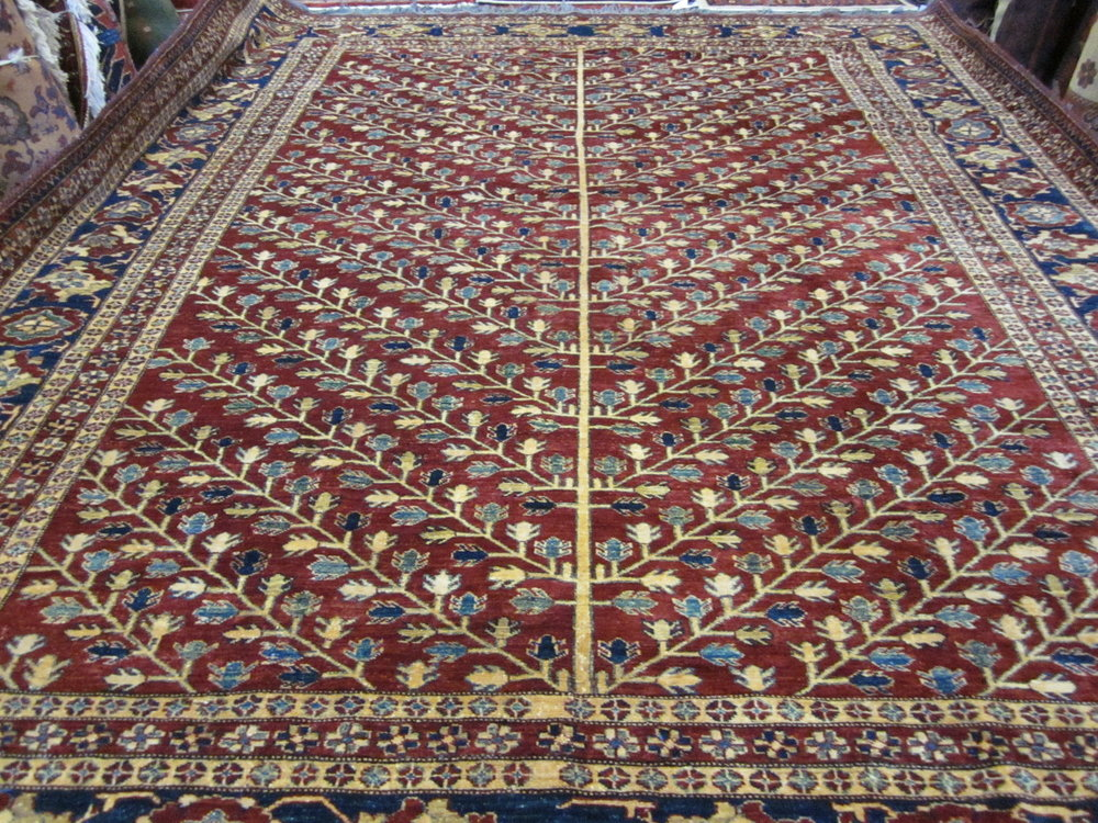 "#48) 9'1"" x 11'4"" Beautiful Kazak rug, Tree of Life Design."