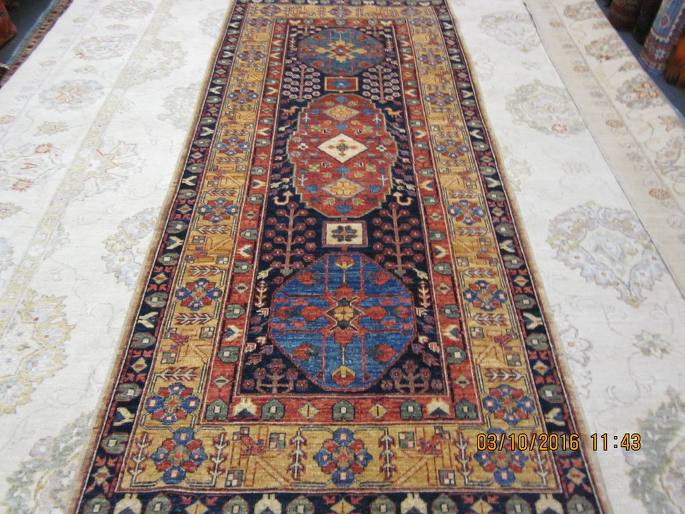 3 x 8 Afghan runner, Kurdish design. Sold.