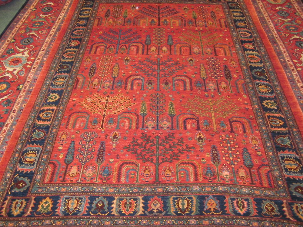 "5'3"" x 7'2"" Gorgeous Persian tribal Khamsehbaf in the Tree of Life design."