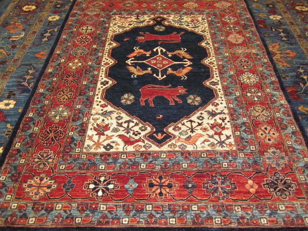 "#35) 5' x 6'9"" Qashqai design rug. Afghan."