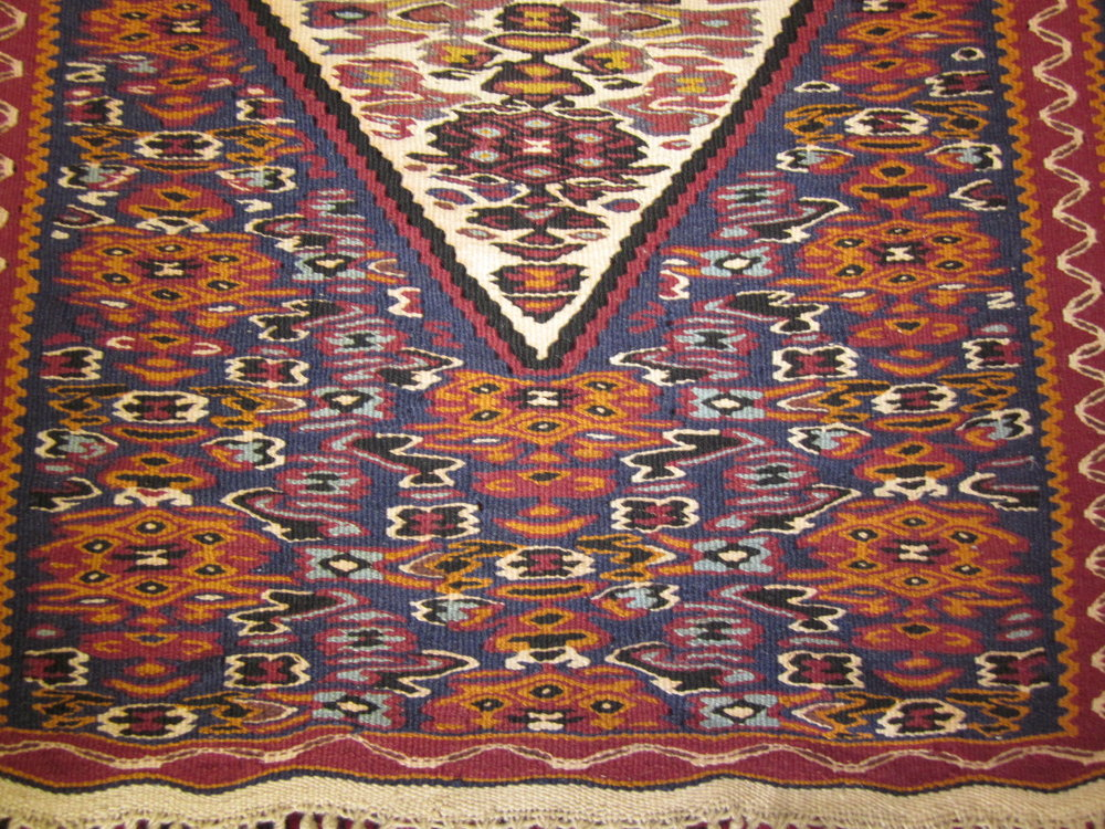 #48) Small Senna kilim runner, close-up.
