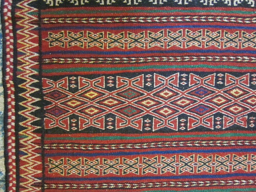 #28b) 6' x 11' Quchan Kilim, close-up.