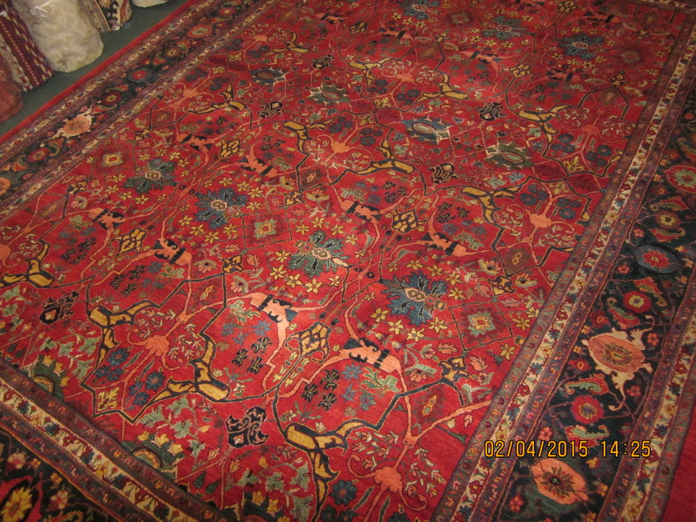 Photo: Oversized Persian Bidjar Carpet, Garrus design in beautiful jewel tones! Sold.