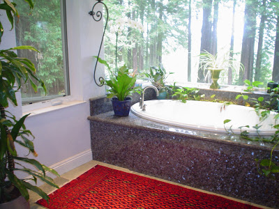 Photo Caption: Oriental rug (This rug is a deep red Turkoman rug) in a bathroom