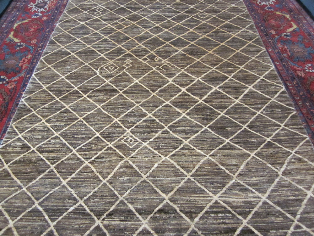 "#44) 5'1"" x 6'11"" Very pretty soft brown Afghan Gabbeh."