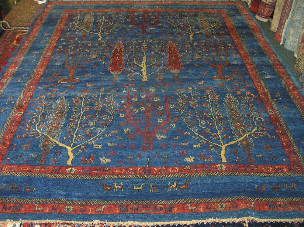 "#45) Beautiful 8 x 10 Tree of Life rug. Exact size is 7'9"" x 9'11""."