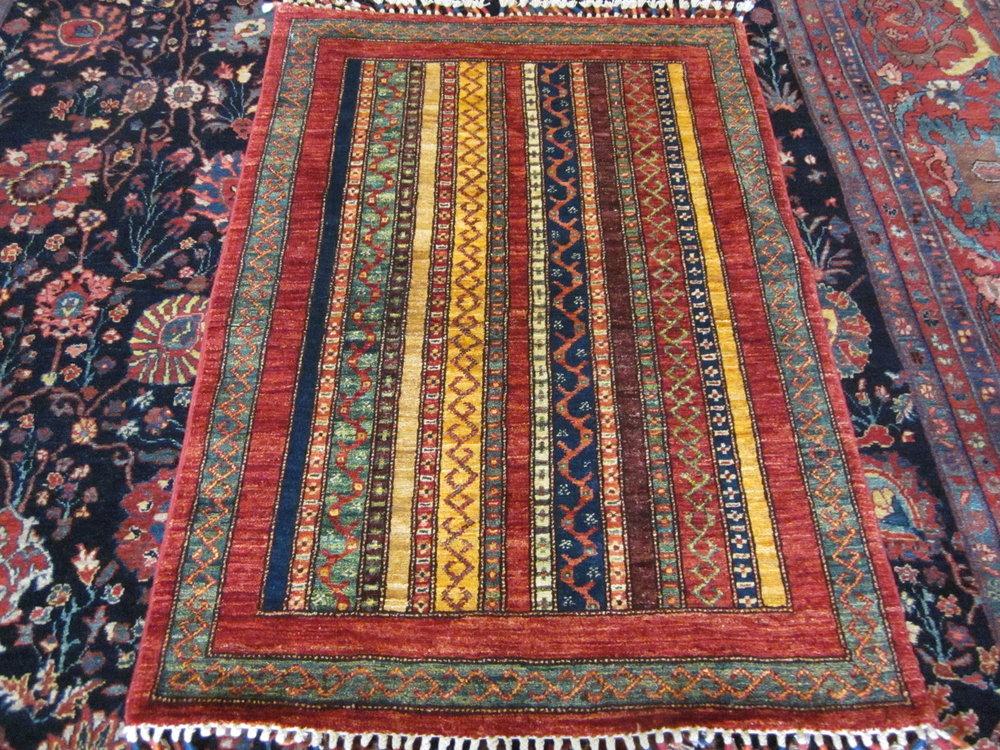 "#49) 2'9"" x 4' Afghan rug, tribal design."