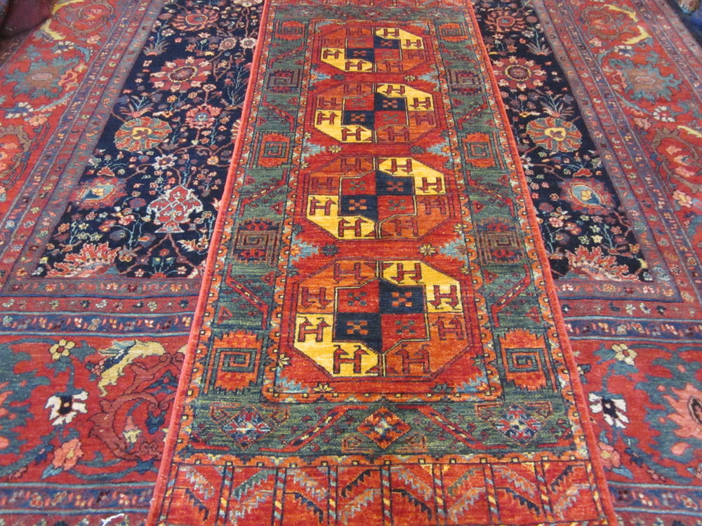 "#49) 2'7"" x 6'8"" Turkoman runner. Beautiful colors!"
