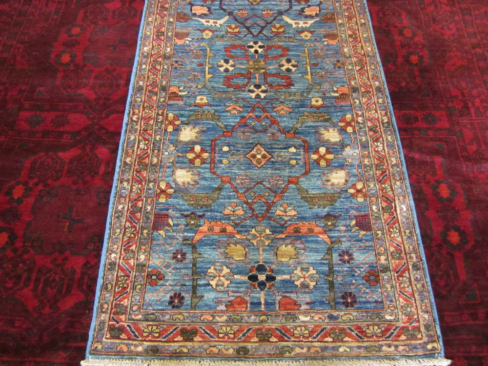 "#39b) Beautiful 2'7"" x 9'6"" Afghan Bijar runner close-up!"
