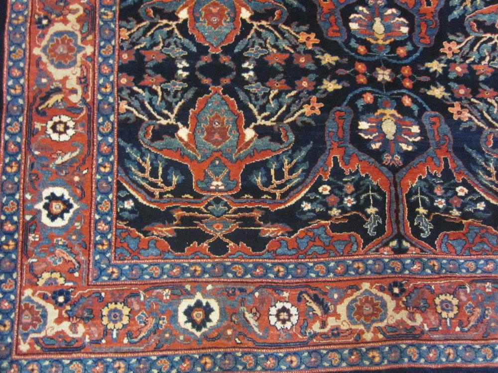 """5'2"""" x 8'1"""" Bijar rug, detailed close-up."""