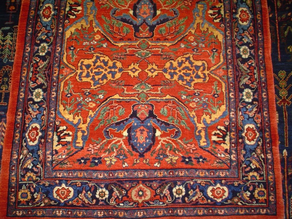 Photo: This small Bijar rug is in the Garrus design. Sold.
