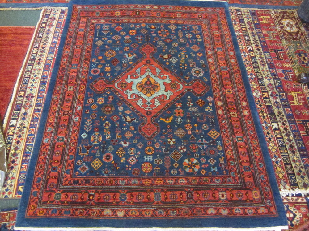 "#49) Beautiful small Qashqai rug in turquoise! 3'5"" x 4'7"""