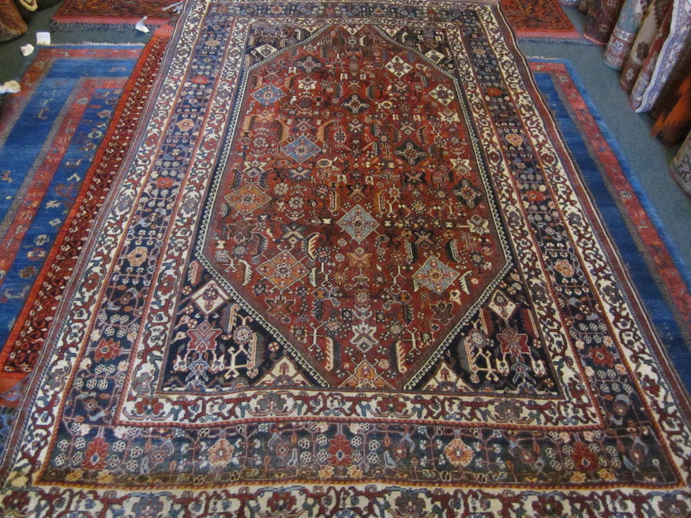 Beautiful antique Qashqai rug. Excellent condition. 5'4 x 8'7""