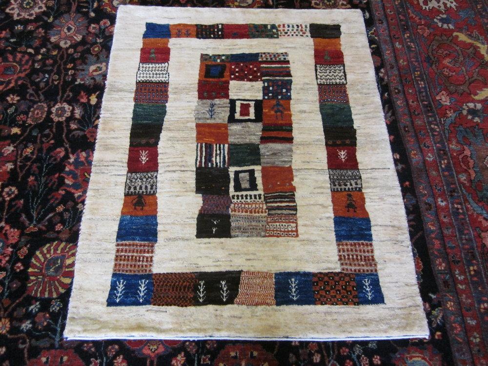 "2'10"" x 3'9"" Amazing small Gabbeh rug. Iran"