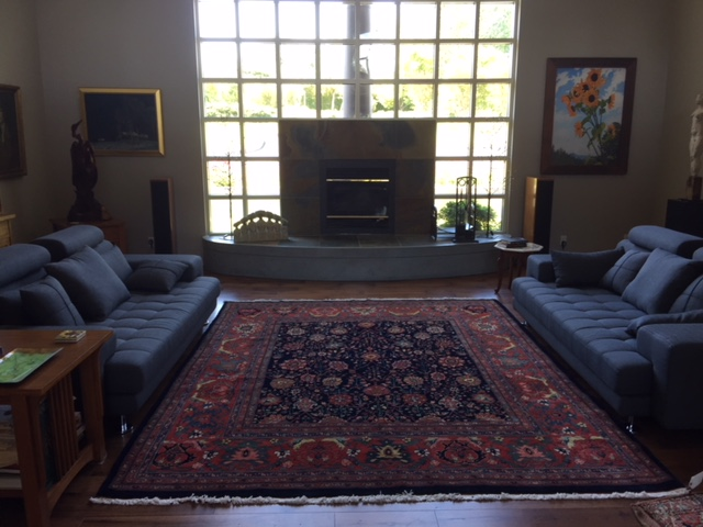 In home photo of a recently sold 8 x 10 Bijar carpet.