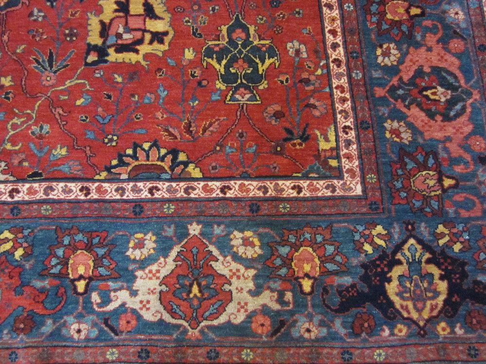 #44b) 8 x 11 Bijar carpet, border close-up. Beautiful jewel tones!