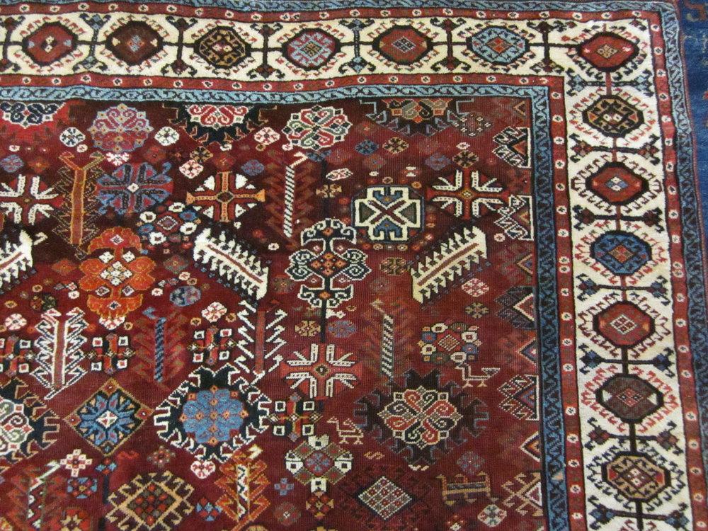 Antique Persian Qashqai in gorgeous jewel tones.