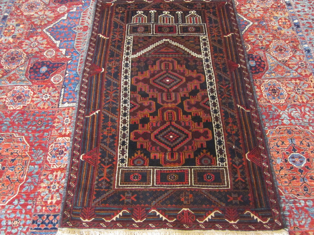 "2'10"" x 4'6"" Afghan Balouch Prayer rug."