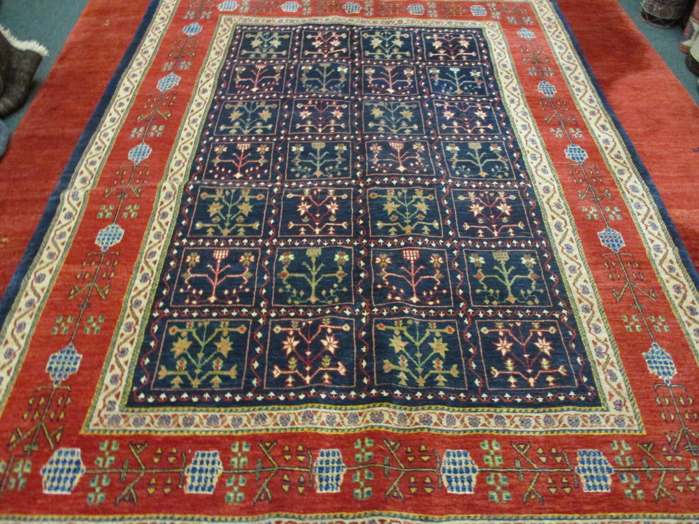"""6 x 8 Persian rug, garden design. Lovely rug with an unusual, very pretty border! Exact size is 5'7"""" x 7'5""""."""