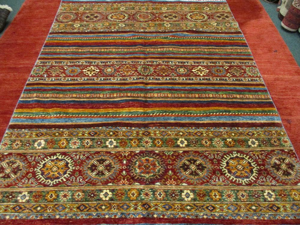 6 x 8 Afghan rug. Tribal design.