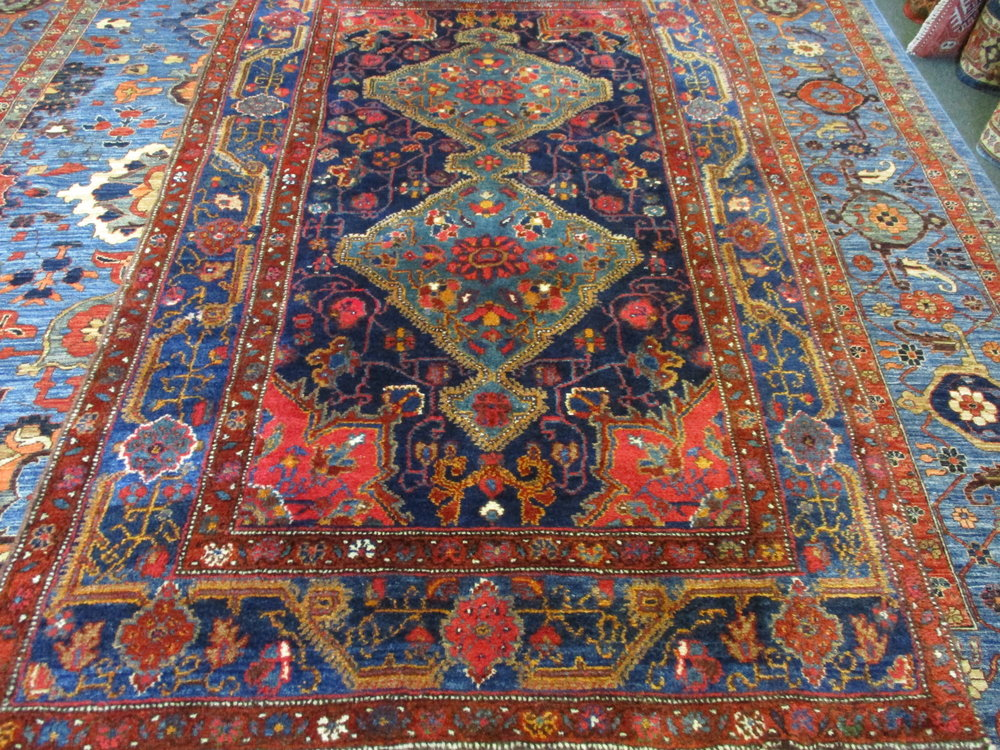 "4'4"" x 7'4"" Antique Sanjabi Kurdish Rug in amazing condition.  Luscious wool, beautiful colors and quite the woven work of art!"