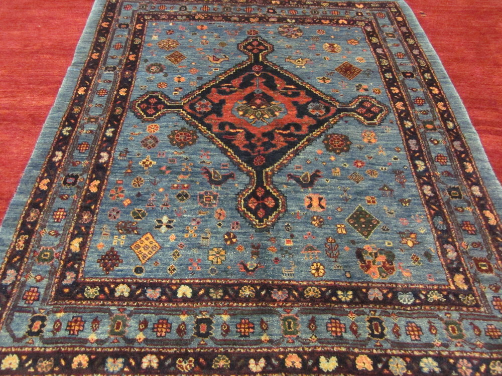 """3'5"""" x 4'3"""" Blue Qashqai rug. Most recent addition to my collection."""