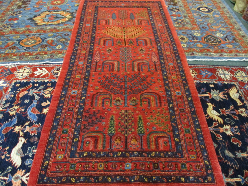 """2'11"""" x 6'5"""" Persian tribal runner in the Tree-of-Life design."""