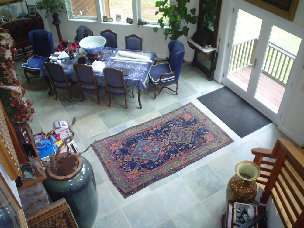 Beautiful antique Kurdish rug in client's home.