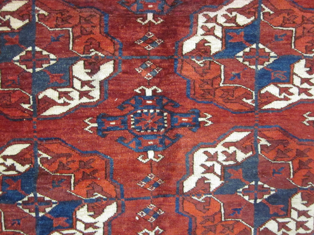 Antique Turkoman rug, close-up.