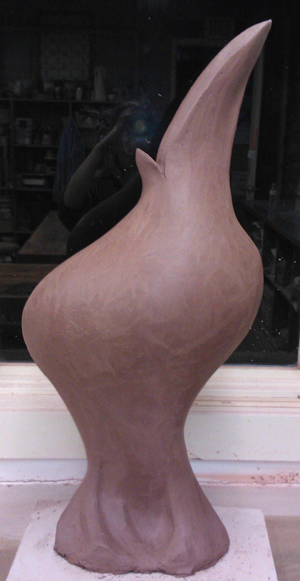 Burd sculpture in process.jpg