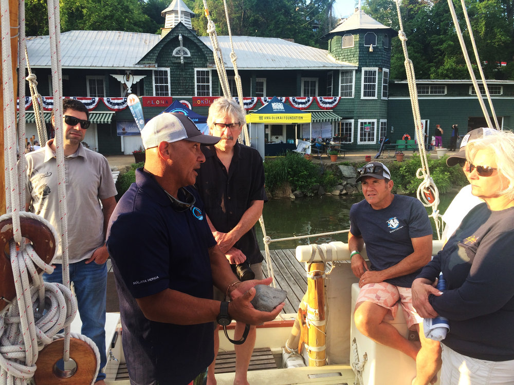 Archie Kalepa led tours on board the Hokule'a with OluKai reps and retailers.