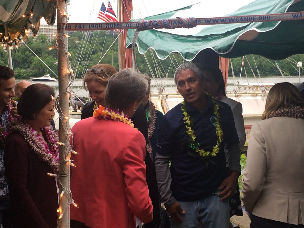 Nainoa Thompson has deep connections to the Washington Canoe Club. It is where his parents and ancestors paddled many decades ago in the mid-Nineteen Hundreds. It was a meaningful and emotional return for the leader of the Hokule'a.
