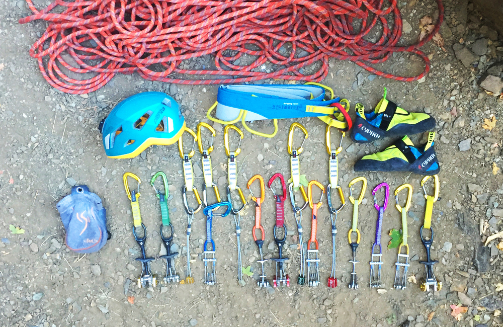 My quiver for Little Creatures: Metolius and BD cams racked with Cypher Ceres biners, Cypher Vesta quickdraws, Cypher Codex shoes, Singing Rock Penta helmet, Singing Rock Garnet harness, Beal Cocoon chalk bag, and Beal Tiger 10mm Unicore rope.