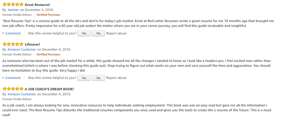 5 star review on amazon best resume tips by red letter resumes resume help - Perfect Resumes