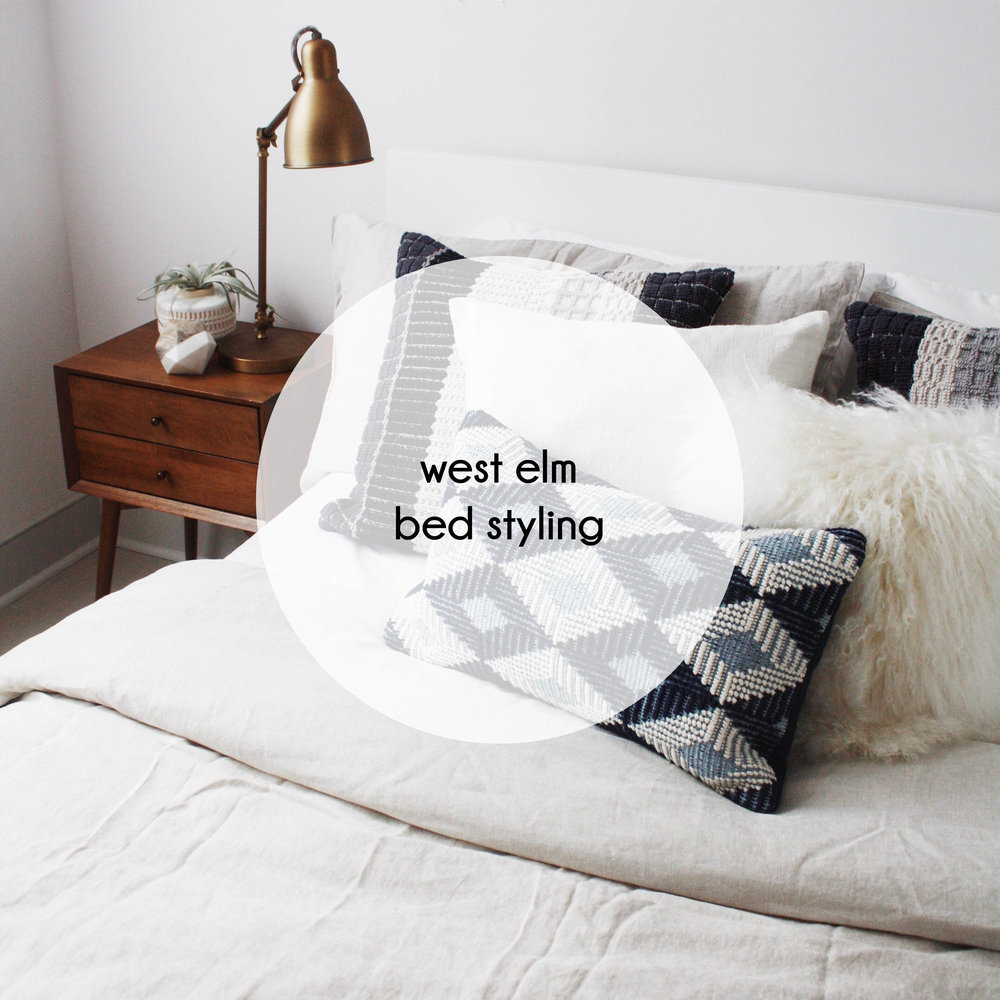button west elm bed styling
