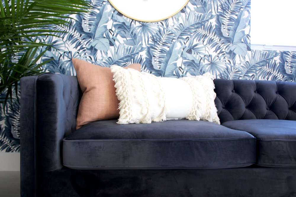 whimsical wynwood studio - velvet sofa - miami interior design - the habitat collective
