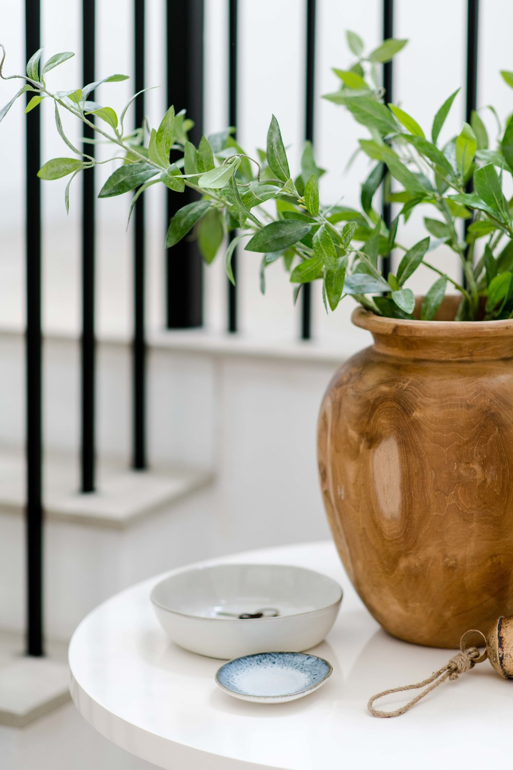 wooden vase with greenery - the habitat collective interior design - #projectpeachy