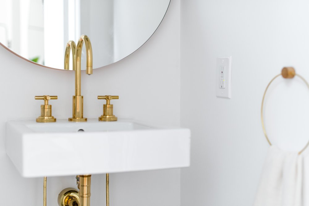 powder bathroom with wall mounted sink and brass faucet - the habitat collective interior design - #projectpeachy