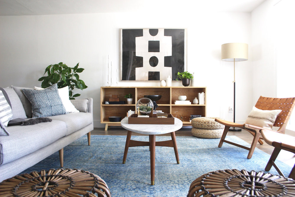 mid century living room with bold art - #projectmidcenturymuse - the habitat collective interior design