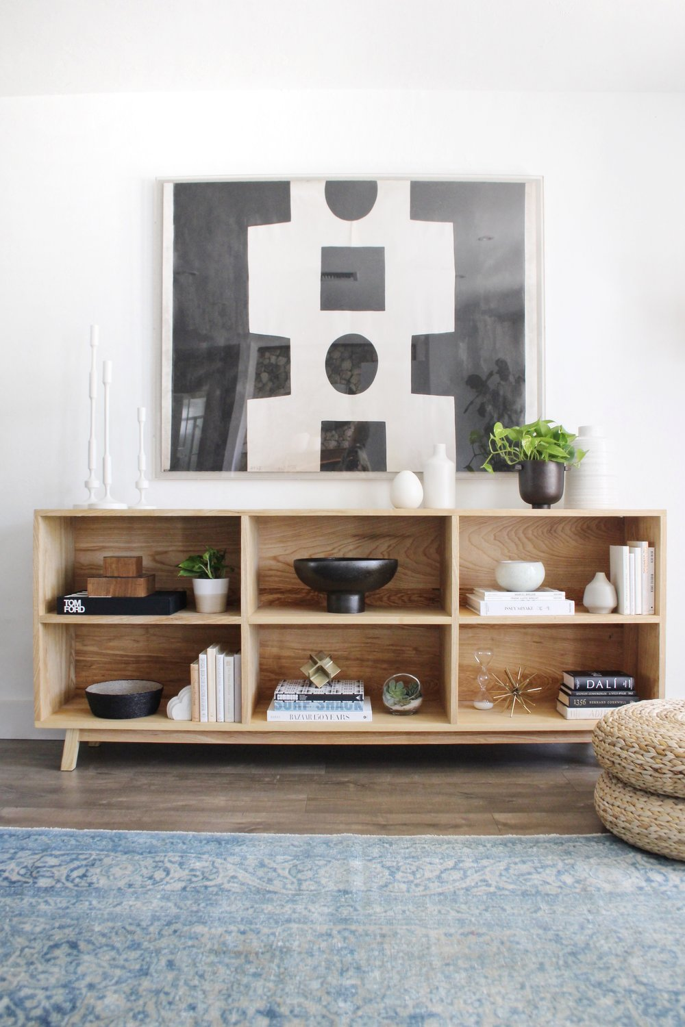 open shelving console with large artwork - #projectmidcenturymuse - the habitat collective interior design