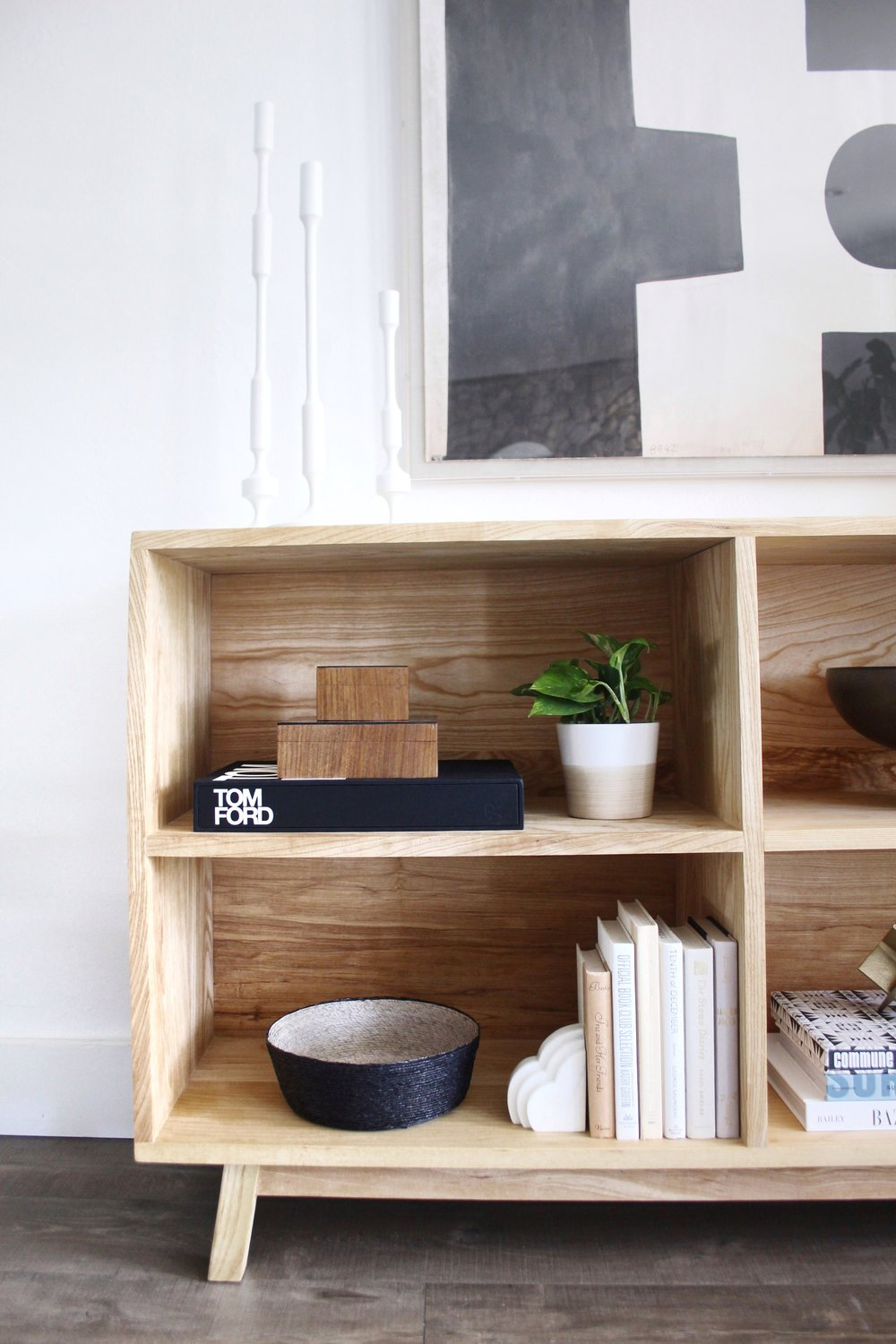 open shelf styling in console  - #projectmidcenturymuse - the habitat collective interior design