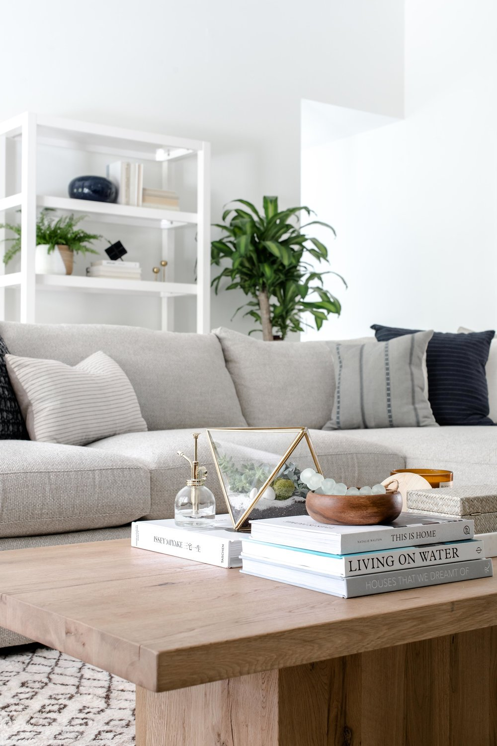 modern wooden coffee table, neutral sectional - the habitat collective - project casinha linda