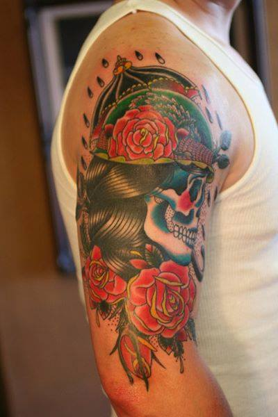 skull-traditional-flower-anthony-apple-tattoo-rochester-tattoo-shop.jpg