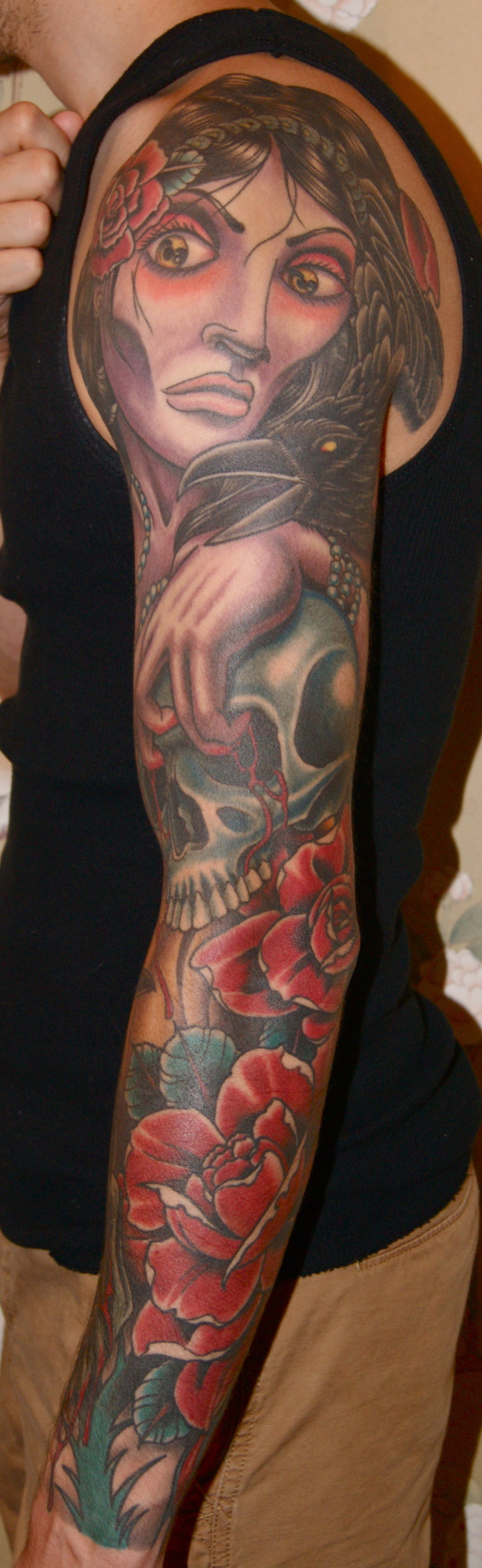 Dead Girl Skull Roses sleeve tattoo