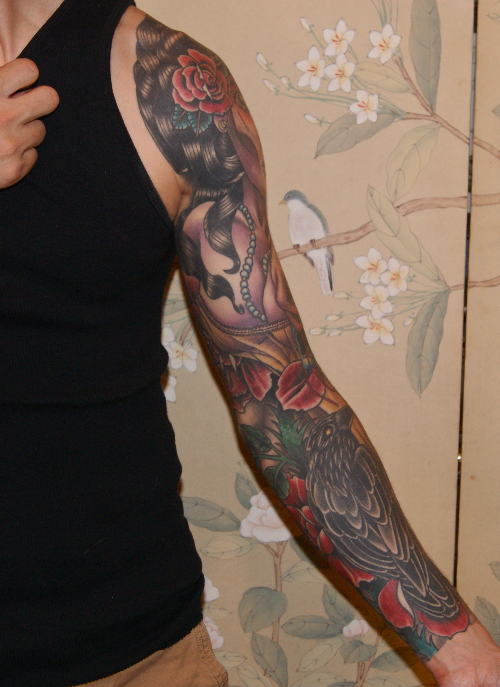Dead Girl Skull Roses sleeve tattoo 2