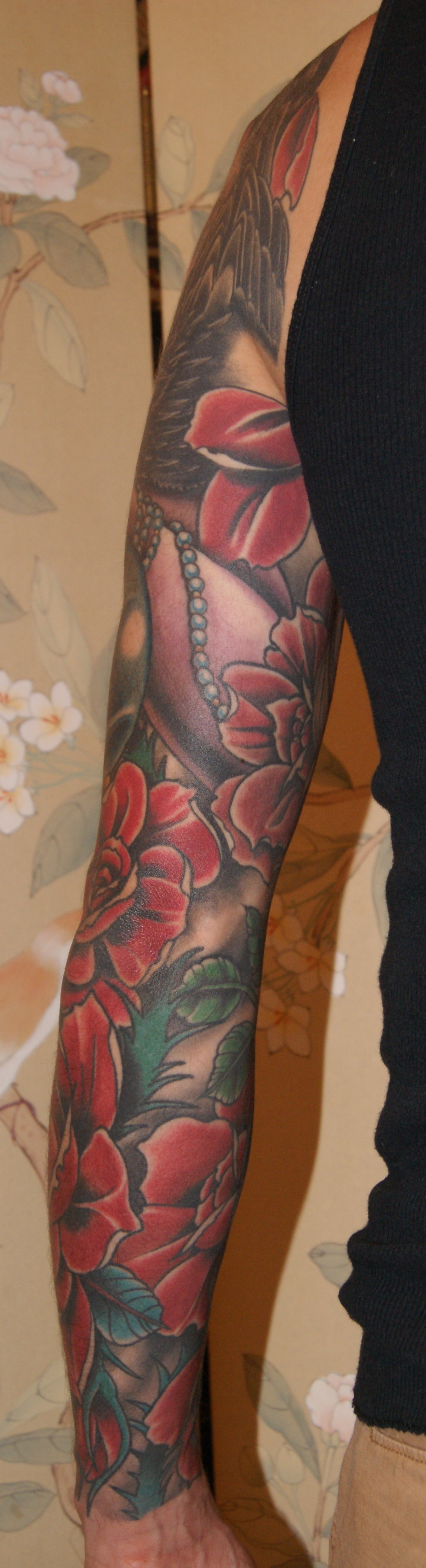 Dead Girl Skull Roses sleeve tattoo 6
